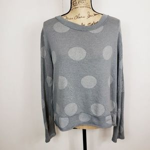 Tempo paris grey lace crochet back sweater